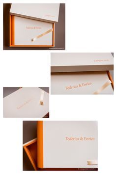 Federica&Enrico - Cover: Cloud Leatherette White - Back and spine: Cloud Leatherette Light Orange - Design Box: Cloud Leatherette White (outside) and Cloud Leatherette Light Orange (inside) - Ribbon: Cream. Album created by Graphistudio for Paolo Bernardotti Studio. Italian Luxury Brands, Wedding Albums, Orange Design, Light Orange, Inspiration Boards, Box Design, Newlyweds, Luxury Branding, Our Wedding