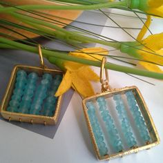 S/SUMMER 2015 CALDER COLLECTION - Aquamarine´s earrings - gold lated
