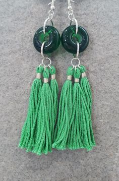 Green glass bead and tassel earrings by bdenglass on Etsy