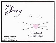 Handmade sympathy card for pet loss using Stampin' Up! So Sorry Set.