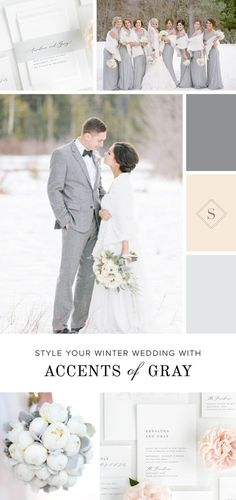 This wedding inspiration is ringing in the new year with a champagne and gray color scheme. Beautiful white peonies with an ivory hue are gathered with dusty miller and silver brunia, which adds a sim Silver Wedding Colours, Silver Winter Wedding, Elegant Wedding Colors, White Silver Wedding, Snow Wedding, Winter Wedding Colors, White Bridal, Christmas Wedding, Wedding Cards