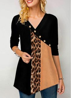 Leopard Print Button Detail Long Sleeve T Shirt - Leopard Print Button Detail Long Sleeve T Shirt Source by threepoodles - Trendy Tops For Women, Casual Outfits, Fashion Outfits, Womens Fashion, Shirt Sale, Blouse Designs, Print Button, Long Sleeve, Sleeves