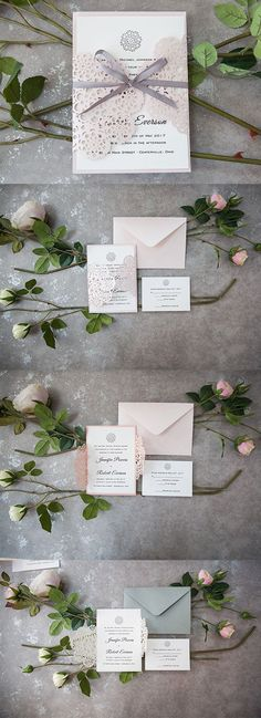 as low as $1.99 elegant spring and summer laser cut wedding invites with ribbons