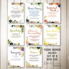 Set of eight 8x10 designs LDS Young Women Values by CdotLove