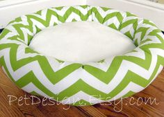 "One-Piece 22"" - Dog Bed - Cat Bed - Chevron Chartreuse & White with Soft Minky Fleece. $53.00, via Etsy."