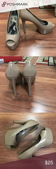 Jessica Simpson beige platform heels Beautiful beige platforms, very comfortable and minor wear shown in picture. Jessica Simpson Shoes Platforms