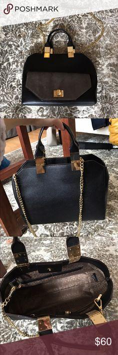 Ann Taylor Loft purse Excellent condition! Faux fur flap. Removable shoulder strap. Quality! LOFT Bags Totes