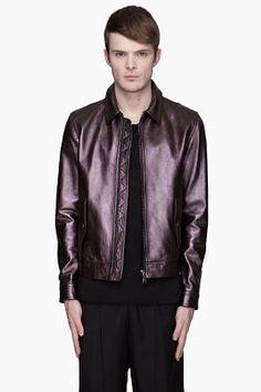 Neil Barrett Brown Iridescent Leather Harrington Jacket for men  89488404f70