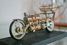 handmade exclusive model motor bike, it will serve as a perfect décor for a stylish vintage interior. The motor cycle goes in a glass showcase. Easy Rider, Miniatur Motor, Steampunk Motorcycle, Motorcycle Gear, Steampunk Machines, Harley Davidson, Steampunk Furniture, Glass Showcase, Steampunk Design