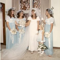 blue.  In 1966 my bridal dress and bridesmaid dresses had the Empire waist.