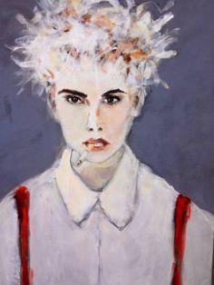 "Saatchi Art Artist Sandy Welch; Painting, ""RED SUSPENDERS"" #art"