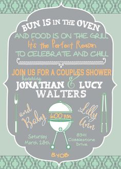 Baby girl shower invitation co ed couples shower bbq baby shower couples baby shower cookout invitation by generationsink on etsy filmwisefo Gallery