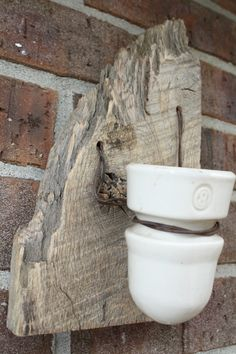 Barn Wood Recycled Candle Sconces with a White Vintage Insulator