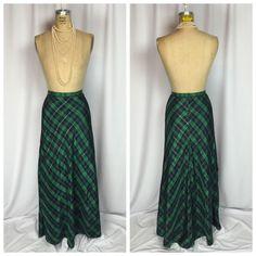 Vintage Black Watch Plaid Tartan Formal Taffeta Ball Maxi Skirt.  | eBay