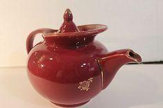 "Hall China ""Windshield"" 6 Cup Maroon Teapot Lid Gold Trim Gilt Rosestrim 0693 | eBay"