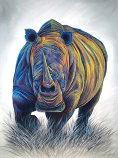 Sudan is part of Teshia's colorful African Wildlife Series paintings, consisting of a colorful & contemporary life-sized white rhino painting, inspired by Sudan, the last male Northern White Rhino to have lived. Wildlife Paintings, Wildlife Art, Animal Paintings, Animal Drawings, Buffalo Painting, Rhino Art, Pop Art, African Art Paintings, Lion Painting
