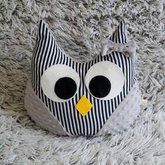 Poduszka sówka szaro- czarna paski maskotki black pearl cat sowa