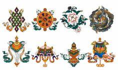 Huit signes auspicieux du bouddhisme. --------------------------------------------------- Eight auspicious signs of buddhisme