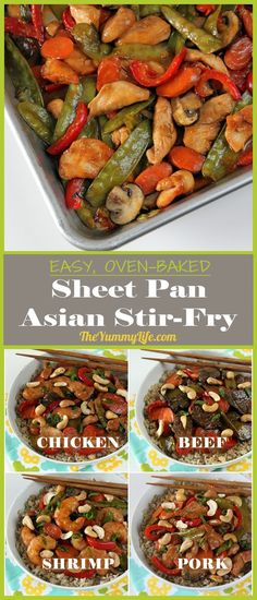 Skip the wok and make this easy, oven-baked sheet pan recipe with traditional Asian stir-fry flavors. A quick, healthy recipe that can be made with chicken, beef, pork, or shrimp.  From The Yummy Life.