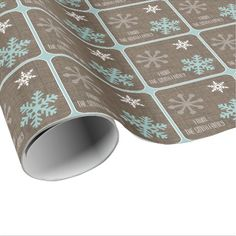 Name Rustic Burlap Blue White Snowflake Wrapping Paper
