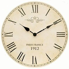 Large Shabby Chic Vintage Style Wall Clock With Roman Numerals In Antique Cream 34cm