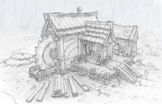 ArtStation - Fantasy Architecture - Lumbermill, Wes Wheeler