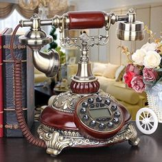 European retro vintage antique telephones Tian old home office corded telephone creative telephone , A