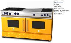 "BlueStar 60"" RNB (maize yellow with cobalt knobs); 6 burners and 24"" griddle  There is also a 48"" version.  Not set on color."