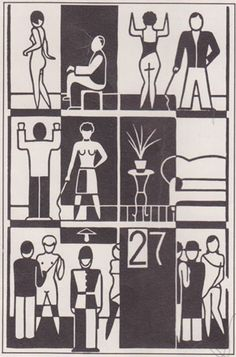 "Linotype Font Feature - Constructivists Fonts - Gerd Arntz: from ""Zwölf Häuser der Zeit"", 1927"