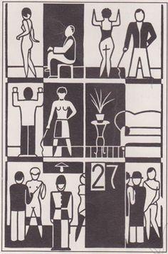 """Linotype Font Feature - Constructivists Fonts - Gerd Arntz: from """"Zwölf Häuser der Zeit"""", 1927"""