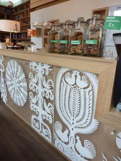 Wycinanki/paper cutting inspired decoration by Grzegorz Wacławek Cafe Design, Store Design, Display Design, Creative Inspiration, Design Inspiration, Paper Art, Paper Crafts, Polish Folk Art, Paper Cut Design