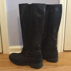 Women's Enzo Angiolini Scarly Boot Black leather riding boots with two buckles. Size 9. Pre-owned Enzo Angiolini Shoes