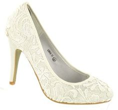 Ivory Vintage Lace Wedding Shoes With Rounded Toes