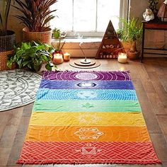 Purchase Hot Rainbow Beach Mat Mandala Blanket Wall Hanging Tapestry Stripe Towel Yoga from Shenzhen Wanweile Network Tech on OpenSky. 7 Chakras, Sacral Chakra, Chakra Healing, Mandala Blanket, Mandala Tapestry, Mandala Print, Flower Mandala, Yoga Blanket, Beach Blanket
