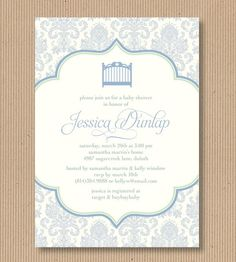 Shabby Chic Baby Shower Invitation for Boy 5x7 by RoxterDesigns, $18.00