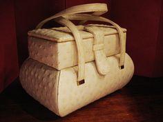 Ostrich Skin Box Handbag Murray Kruger 1950s Off by AuntieQsAttic, $75.00