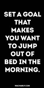 #inspiration #quote / SET A GOAL THAT MAKES YOU WANT TO JUMP OUT OF BED IN THE MORNING.