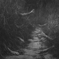 Grabbing Dark Walk scary, halloween, fall, path, woods, zombie, autumn, hands