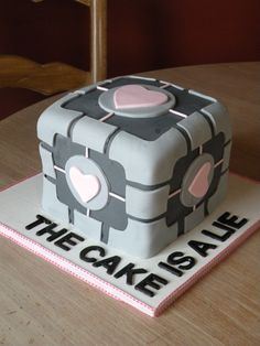 companion cube cake - from the Portal video game