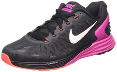 Nike Women's Lunarglide 6 Wmns Running Shoes, Black/Fuchsia Flash-Hot Lava-White * You can find out more details at the link of the image.