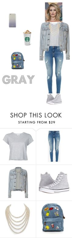 look Grey by nath-nessie on Polyvore featuring moda, RE/DONE, rag & bone, Ted Baker, Converse, DaVonna, Kate Spade and Whiteley