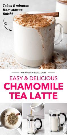 Tea Smoothies, Smoothie Drinks, Hot Tea Recipes, Drink Recipes, Yummy Treats, Yummy Food, Latte Recipe, Tea Latte, Chamomile Tea