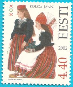 Folk Costumes of Kolga-Jaani (Central Estonia) by Mari Kaarma, stamp from Estonia,2002