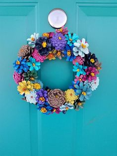 Your place to buy and sell all things handmade - Paper Plate Crafts Pine Cone Art, Pine Cone Crafts, Pine Cones, Flower Mirror, Hanging Flower Wall, Pine Cone Flower Wreath, Diy And Crafts, Arts And Crafts, Felt Crafts