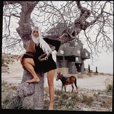 Model wearing a Mary Ann Restivo for Something Special Enkalure dress with a donkey in the background at the Xanadu complex in Clape, Spain Vogue June 1969 © Henry Clarke Fashion Shoot, Editorial Fashion, Sitting In A Tree, Vintage Outfits, Vintage Fashion, Sixties Fashion, Bill Blass, Spring Summer Fashion, Fashion Photography