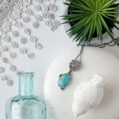 www.polandhandmade.pl ---  Romantic, silver necklace with beautiful amazonite. Handmade jewelry.  --- #polandhandmade #amadestudio #romantic #granulation #silverart #artisanjewelry #handmadejewelry #amazonite #handmadenecklace