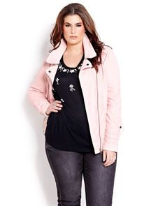 We have a thing for pink this season! Plus-size Pastel pink faux-leather biker jacket from Addition Elle