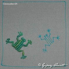 Grenouille brodée à la main - du dessin jusqu'à la grenouille finie - Hand-embroidered frog - from sketch to finished frog embroidery - Handgestickter Frosch. Bullion Embroidery, Baby Embroidery, Hand Embroidery Patterns, Cross Stitch Embroidery, Machine Embroidery, Quilt Stitching, Hand Stitching, Crazy Quilt Stitches, Crazy Quilting