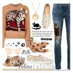 """The Cat's Meow : Feline Fashion"" by drinouchou ❤ liked on Polyvore featuring Dolce&Gabbana, Charlotte Olympia, Quay, Loewe and felinefashion"