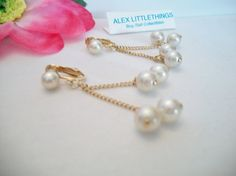 vintage Sarah Coventry pearl earrings dangle by ALEXLITTLETHINGS, $19.00